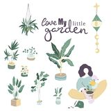 Long haired woman sitting among potted plants and zero unread messages notification symbols. Concept of solitude and loneliness on. Internet. Colorful vector vector illustration