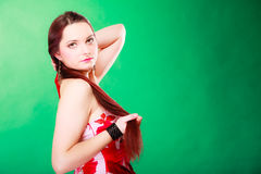 Long haired woman in summer dress. Stock Photography