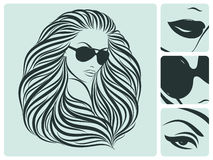 Long hairstyle. Vector illustration. Stock Image