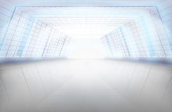 Long hall, large space. Vector illustration. Royalty Free Stock Images