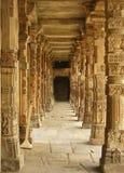 The long hall near Cutab Minar. New Delhi, India: long ancient column corridor near Cutab Minar Stock Image