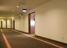 Long hallway. Hallway in a budget hotel Stock Photography