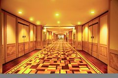 Long hallway. This is a hotel hallway ,wide and long Royalty Free Stock Photos