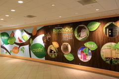 Long hallway advertising program 'branch out' Cleveland Botanical Garden,Ohio,2016. Long,colorful hallway with advertisement of new program, 'branch out,' royalty free stock photo