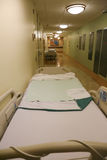 Long hallway in a hospital with two beds Stock Photography