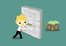 Long hand and door. Businessman who carry wood try to grab money behind the wall Stock Photography