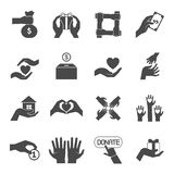 Long hands giving black icons set Stock Photography