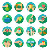 Long hands giving flat icons set Royalty Free Stock Photo