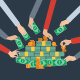 Long hands money grabbing flat poster Royalty Free Stock Photography