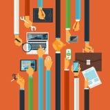 Long hands production process concept stock illustration