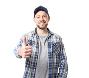 Long-haul truck driver on background. Long-haul truck driver on white background Stock Photography