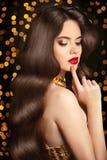Long Healthy hair. Beauty portrait woman. red lips makeup. elega Royalty Free Stock Image