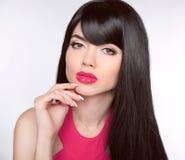 Long healthy Hair. Makeup. Manicured nails. Beautiful model girl Royalty Free Stock Photos