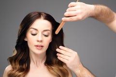 Long healthy and shiny hair, long women's hair. Stock Photo