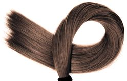 Long healthy straight brown hair ponytail on white background stock image