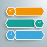 Long Hexagons Development Banner 3 Steps PiAd. Infographic with white a head on the grey background. Eps 10  file Royalty Free Stock Image