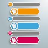 Long Hexagons Heads Banner 3 Steps Stock Photos
