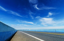 LONG HIGHWAY ON BRIDGE Stock Photos