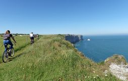 Long hiking trail GR 23 in Normandy coast royalty free stock image