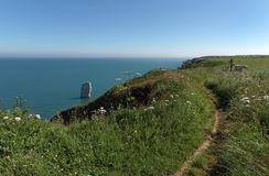 Long hiking trail GR 23 in Normandy coast stock photo