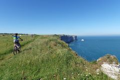Long hiking trail GR 23 in Normandy coast Royalty Free Stock Photos