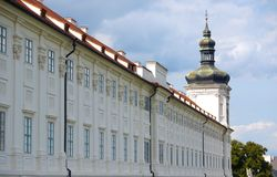 Long historic building with tower Royalty Free Stock Image