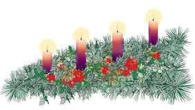 Long horizontal decorated Advent wreath with four purple candles Royalty Free Stock Images