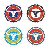 Long horn logo. In 4 color schemes stock illustration