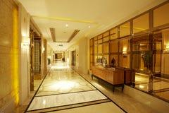 Long hotel corridor. Luxurious Long hotel corridor with Mirror Stock Photo