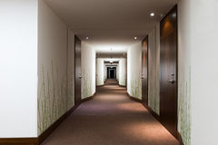 Long hotel corridor. With doors and green grass wallpaper Stock Photo