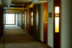 Long hotel corridor Stock Photos