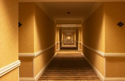 Long hotel hallway Royalty Free Stock Image