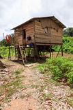 Long house of the Iban tribe. On Borneo Stock Images