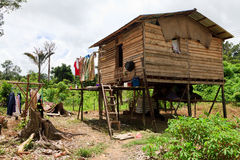Long house of the Iban tribe. On Borneo Stock Photos