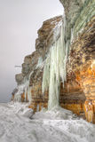 Long icicles on a cliff Royalty Free Stock Images