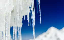 Long icicles close-up. With shallow depth of field stock images