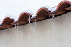 Long icicles hanging Royalty Free Stock Photos