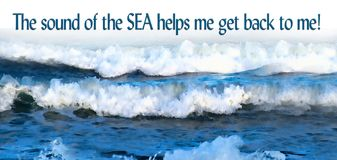 Ocean Waves With Quote, Sounds Of The Sea. Long Image With Deep Blue Water
