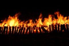 Long incendie avec le charbon de bois Image stock