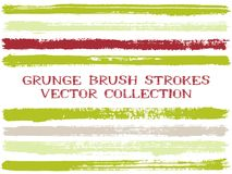 Long ink brush strokes isolated design elements. Set of paint lines. Messy stripes, textured paintbrush stroke shapes. Ink brush stripes isolated on white stock illustration