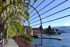 """Beautiful red iron archway """"Walk of Lovers"""" along Varenna lakefront with climbing wisteria flowers on it in springtime. royalty free stock photos"""