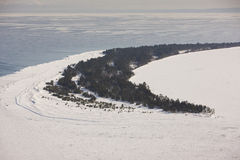 Long island apostle islands wisconsin. Aerial view of Long island, apostle Islands wisconsin national lakeshore during winter Royalty Free Stock Photography