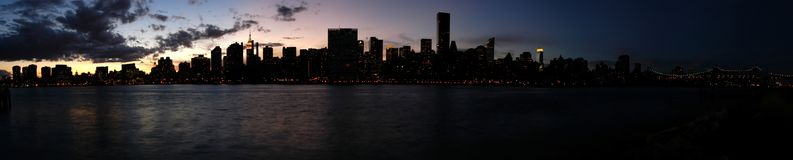 Long Island City. A panoramic view from the Long Island city at dusk Stock Images