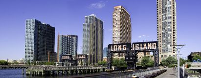 Long Island City Skyline. The Long Island City Skyline as new buildings are constructed that have a view of downtown Manhattan in New York City stock image