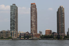 Long Island City waterfront with historic steel railroad gantries at Hunters Point Stock Photo