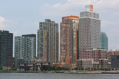 Long Island City waterfront with historic steel railroad gantries at Hunters Point Royalty Free Stock Photo