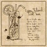 Long Island disegnato a mano ha ghiacciato il cocktail del tè Fotografia Stock Libera da Diritti