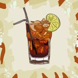 Long island iced tea classic cocktail illustration. Alcoholic bar drink hand drawn vector. Pop art vector illustration