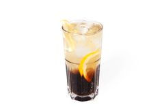 Long island iced tea cocktail. With ice isolated on white background stock images