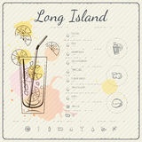 Long island iced tea. Cocktail infographic set. Vector illustration. Colorful watercolor background Royalty Free Stock Photography